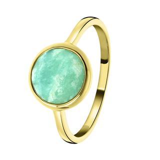 Zilveren ring gold Gemstone amazonite