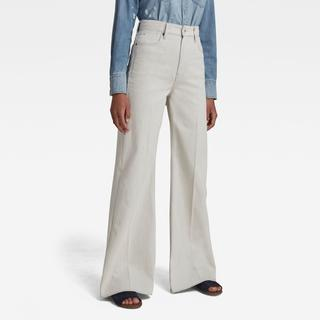 Deck Ultra High Wide Leg Jeans - Beige - Dames