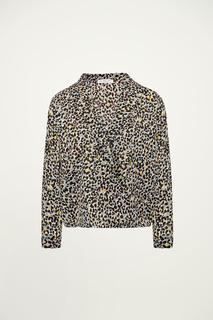 Grijze overslag blouse luipaard