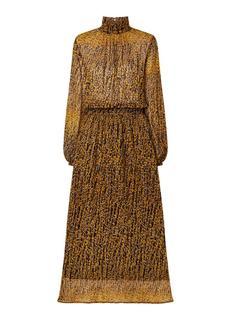 Raffa maxi jurk met col en bladprint