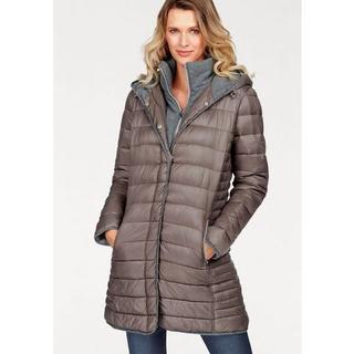 doorgestikte jas met capuchon en staande kraag