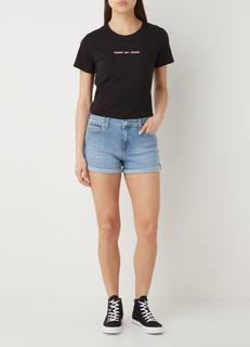 Mid waist straight fit korte broek van denim met stretch