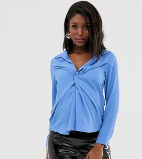 ASOS DESIGN Maternity - Diepuitgesneden overhemd met lange mouwen en geknoopte voorkant-Blauw