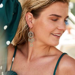 Flowery Beads Earrings - Silver