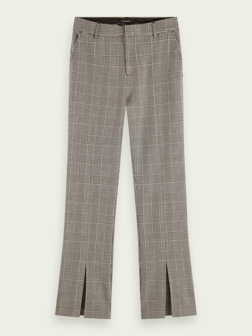 Coole broek met splitten zwartwit geruit