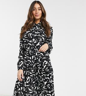 Mamalicious - Zwangerschapskleding - Borstvoedingsoverhemdjurk met abstracte print-Zwart
