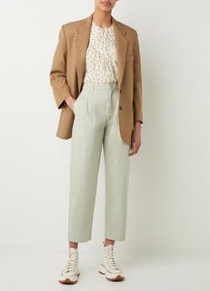 Mint high waist loose fit pantalon met plooidetail