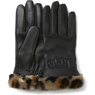 Faux Fur Cuff Leather Handschoenen voor Dames in Black, maat S   Leder