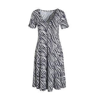A-lijn jurk met zebraprint en plooien donkerblauw/wit