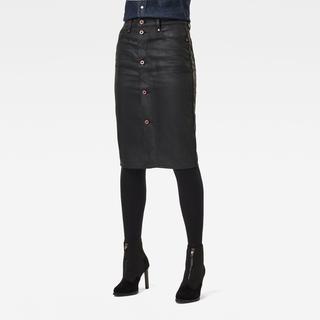 Noxer Navy Button Kokerrok - Slim Fit - Taillehoogte Hoog