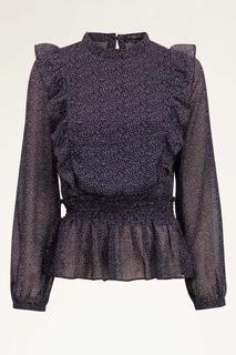 Zwarte blouse ruffles & hartjes