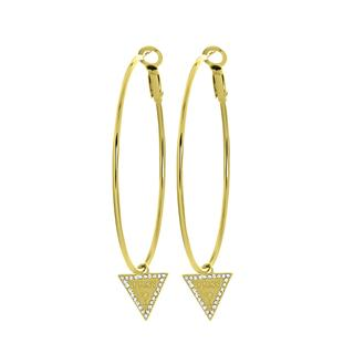 stalen goldplated oorbellen triangle 50mm
