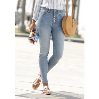 high-waist jeans met modieuze knoopsluiting