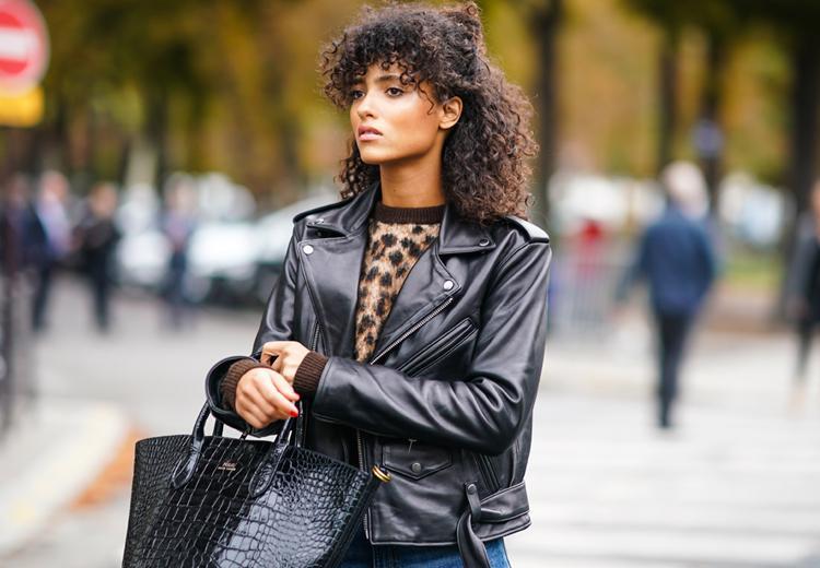 DNR Jackets Leren damesjas met all over patroon makkelijk