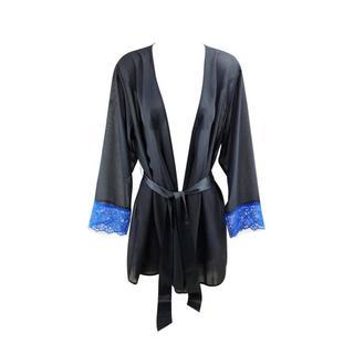 chiffon kimono Ariana zwart/blauw