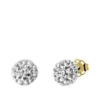 9 Karaat oorknoppen bal met kristal