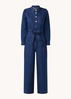 Wide fit cropped jumpsuit van denim met strikceintuur