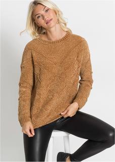 Dames trui lange mouw in bruin