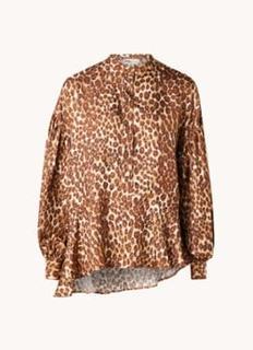 Leeigh blouse van zijde met panterprint
