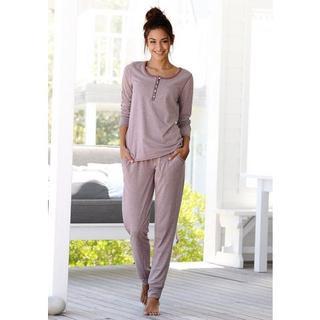 Pyjama in gemêleerde kwaliteit met knoopsluiting