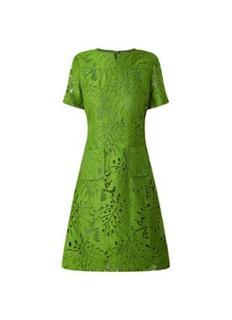 Yazi mini jurk van kant met opgestikte zakken