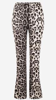 Grijze flared broek met luipaardprint