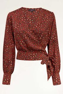 Rode wikkelblouse met panterprint