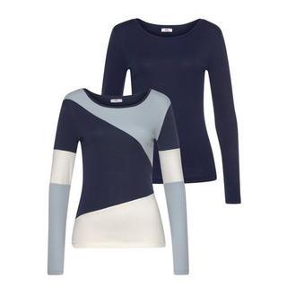 Shirt met lange mouwen Colourblocking-stijl (set, 2-delig)