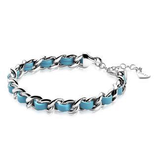 zilveren gourmet armband turquoise koord 18-21cm ZIA1095T