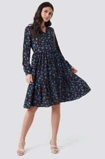 V-Neck Printed Ruffle Dress