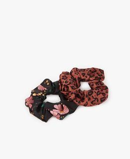 Scrunchies Black Flower & Savannah
