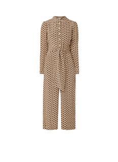 L.K.Bennett Stockbridge wide fit jumpsuit van zijde met animalprint en strikceintuur
