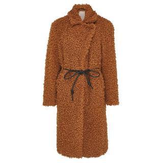 teddy winterjas met ceintuur bruin