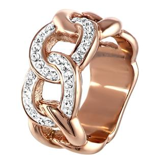 Stalen ring crystal roseplated