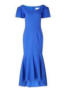 Maddi maxi jurk met V-hals en pofmouw