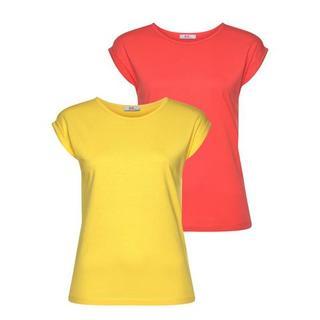 T-shirt met verlaagde schoudernaden & kleine mouwomslagen (Set van 2)