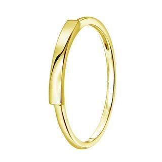 Zilveren ring goldplated met bar