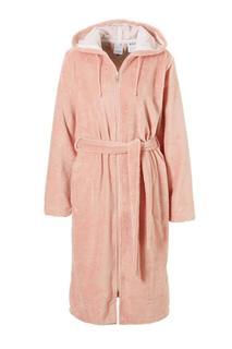 fleece badjas Duchesse met ritssluiting en capuchon roze