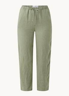 Linen high waist straight fit cropped pantalon van linnen