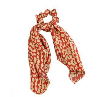 Scrunchie sjaal zijde red/creme