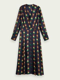 Midi-jurk met lange mouwen en bloemenprint