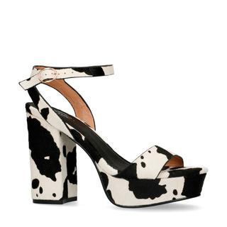 sandalettes koeienprint zwart/wit