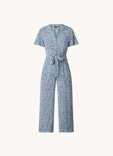 Jemma loose fit cropped jumpsuit met panterprint