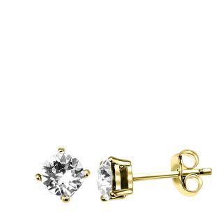 Zilveren oorbellen gold Swarovski Crystal white