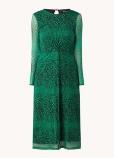 Midi jurk van mesh met panterprint