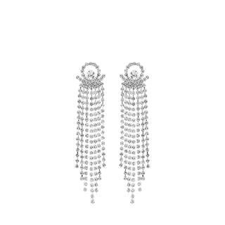 Zilverkleurige byoux oorbellen met steentjes