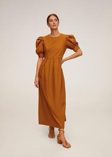 Katoenen jurk met pofmouwen
