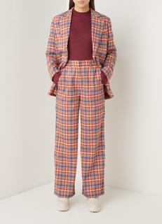 High waist wide fit pantalon met ruitdessin
