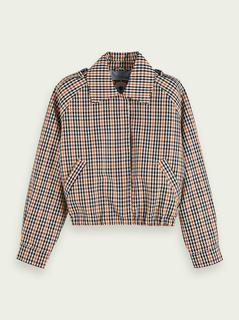 Cropped jas met pied-de-poule geruit dessin en lange mouwen