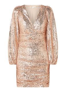 Ripallette mini jurk met overslag en pailletten